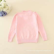 jersey de cuello alto suéteres rosados ropa de punto lisa apliques minúscula flor de manga completa prendas de invierno cálido