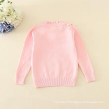pull à col roulé chandails roses vêtements tricotés simples appliqued fleur minuscule manches longues vêtements d'hiver chauds
