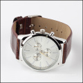 fashion embossed leather straps men classic watch quartz, japan movt watch factory