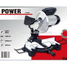 Baja ruido 255mm 1800w motor de inducción Madera / Aluminio Cutting Mitre Saw Machine Industrial Cut-Off Saw