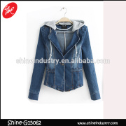 spring latest design 2015 hooded jean jacket women's denim coat
