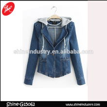 spring latest design 2015 hooded jean jacket women's denim coat