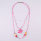 2015 hot selling fashion kids acrylic and wooden beads necklace with starfish pendant