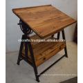 Industrial Vintage Draft Table With Drawer Reclaimed Railway sleeper wood