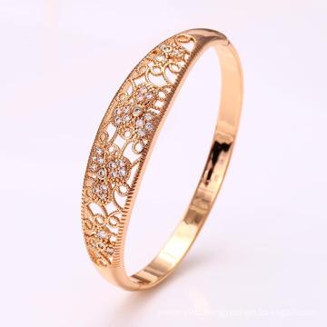 50914 Fashion Elegant 18k Gold-Plated CZ Imitation Alloy Copper Jewelry Bangle for Women