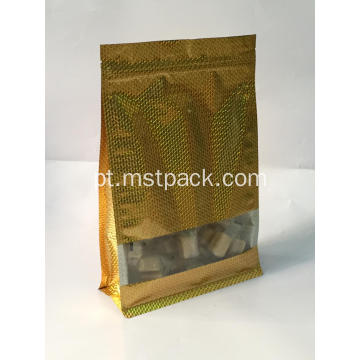 Golden Flat Bottom Bag With Clear Window