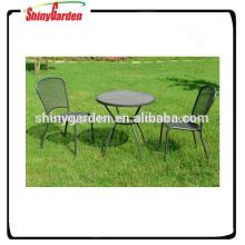 Conjunto de muebles de malla de acero de silla y mesa de bistró de acero morden al aire libre