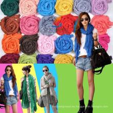 S231 Ningbo Lingshang Venta al por mayor 2015 nuevas mujeres del verano del diseño forman la gasa del color sólido Bufanda barata de Pashmina
