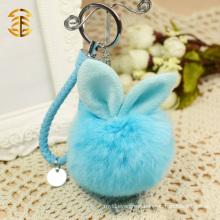Cute Big Rabbit Fur Ball Keychains Rabbit Fur Pom Poms Keyrings
