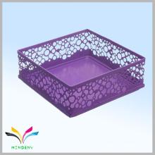 Metal mesh cube purple office desk supplies organizer