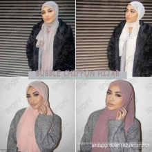 Hochwertiger Stirnbandstrand populärer Sommerfarbiger moslemischer hijab Schale Plain Chiffon- Schal der Blase