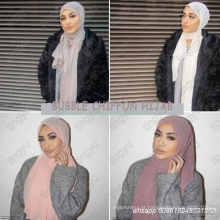 Headband da praia de alta qualidade popular verão cor sólida hijab muçulmano xales planície bolha chiffon cachecol