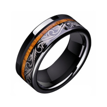 Black Tungsten Wood Inlay Engagement Rings For Her