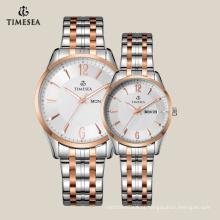Relógio de pulso de aço inoxidável de volta de caso de relógio de ouro rosa 70019