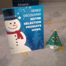 Corrugated Snowman Surface Standee, Cardboard Displays Stand for Promotion