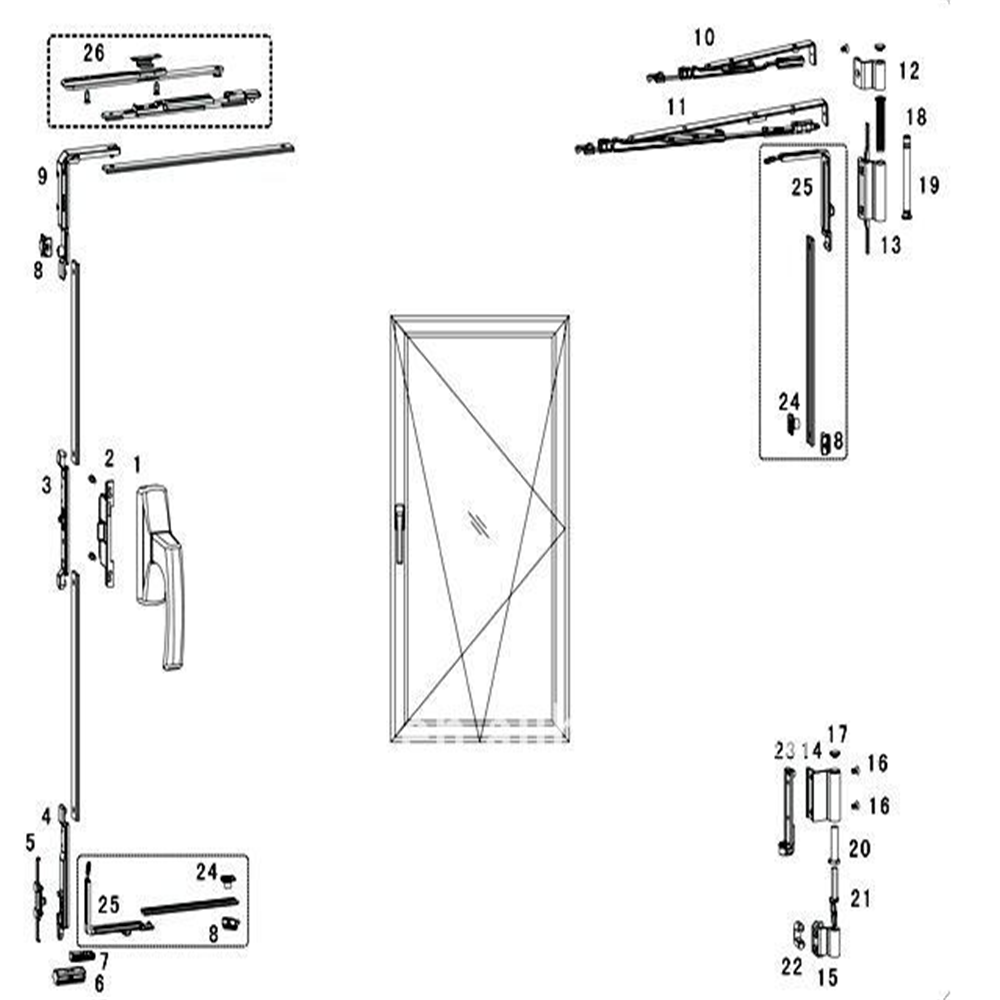 Window Hardware Aluminum Tilt&Turn Fitting