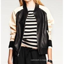 Дамы пользовательские кожаные Бейсбольные куртки - зимние готового ягненка скрыть кожаный куртка для женщин