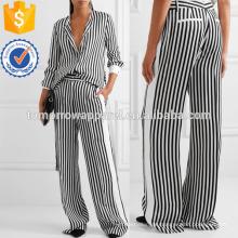 Gestreifte Satin-Twill Wide-Bein Hosen Herstellung Großhandel Mode Frauen Bekleidung (TA3043P)