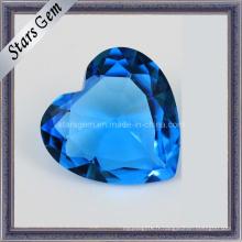 Pierres précieuses en verre brillant en forme de coeur pour bijoux