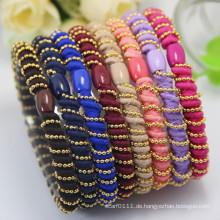 Dame Luxury Spiral Metall Perlen Elastic Rope Rubber Hairbands (JE1582)