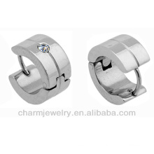 Surgical Steel Silver Tone Unisex Clear Crytal Hoop brincos brinco para homens HE-006