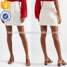 Latest Design 2019 White Belted Frayed Summer Mini Skirt Manufacture Wholesale Fashion Women Apparel (TA0048S)