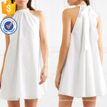 Embroidered White Cotton Sleeveless Halterneck Mini Summer Dress Manufacture Wholesale Fashion Women Apparel (TA0280D)