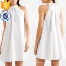 Halterneck sem mangas de algodão branco bordado Mini vestido de verão Fabricação Atacado Moda Feminina Vestuário (TA0280D)