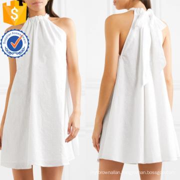 Embroidered White Cotton Sleeveless Halterneck Mini Summer Dress Manufacture Wholesale Fashion Women Apparel (TA0280D)