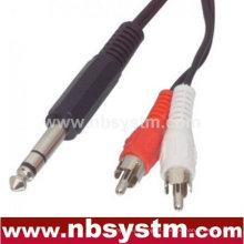 Conector estéreo de 6,3 mm para cabo de alimentação 2 rca