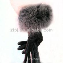 2012 newest rabbit fur wrist wholesale leather glove
