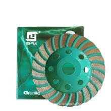 Turbo Type Single Row Diamond Cup Wheel  Granite Grinding Abrasive China FEIYAN Diamond Tools Supplier