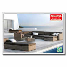 Luxury 8PCS Set Rattan Wicker Sectional Sofa Set with Ottoman