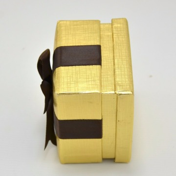 Partihandel Golden Box Brown Ribbon Earring Box