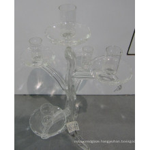 Clear Dendritic Glass Candle Holder with Five Posters
