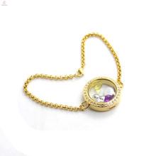 Las pulseras flotantes del medallón del oro de las mujeres del acero inoxidable de la venta al por mayor venden la joyería