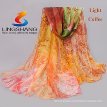 Lingshang 2015 newest designs flower print grils scarf gauze shawl magic chiffon pashmina scarf gril dress