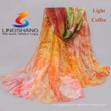 Lingshang 2015 mais novo design flor impressão grils lenço gaze xale magia chiffon pashmina lenço gril vestido