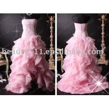 элегантные популярные атласная бисероплетение розовые платья свадебное платье для новобрачных RB066