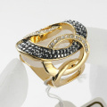 Brand Fashion High Quality Gold Plated Queen Rings for Women Full Rhinestones