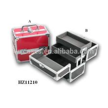 Estuche de maquillaje de aluminio con 2 bandejas interior del fabricante de China, con opciones de color diferentes