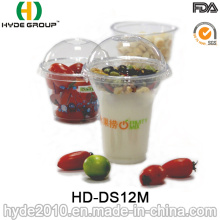 Tasse en plastique jetable d'animal familier de 12oz pour le milk-shake, tasse en plastique avec le couvercle