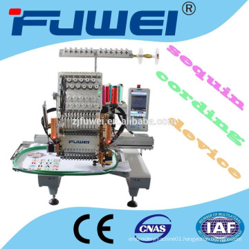 15 colors single head embroidery machine with sequin / cording device