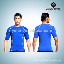 Короткий рукав мужчины хорошие эластичные футболки сжатия тренажерный зал износа
