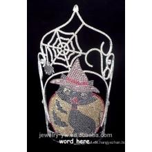 Hochwertige Kristallspinne und schwarze Katze Halloween Krone