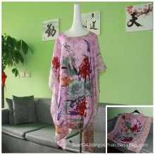 Ladies Pink Printed Viscose Woven Wide Sleeve Blouse