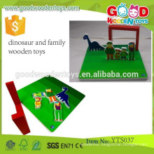 Educational Wooden Pretend Play Dinosaur and Family Wooden Mechanical Toys for Kids