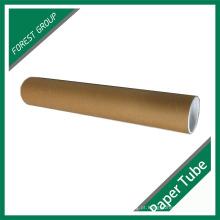 Custom Brown Palin Tube de papel de impressão com tampa
