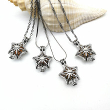 Christmas Star Locket Cage Hold Pearl Bead Necklace