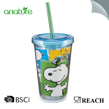 Double Wall Plastic Tumbler With Straw And Lid